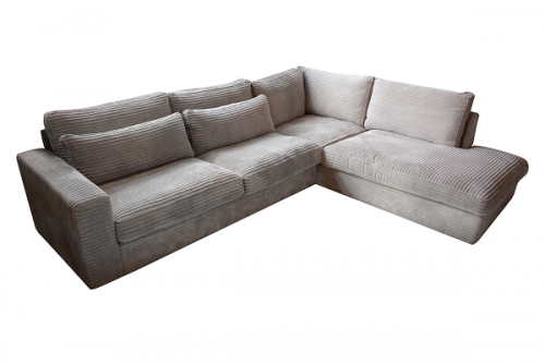 Diepe comfortabele lounge bank in modere rib stof