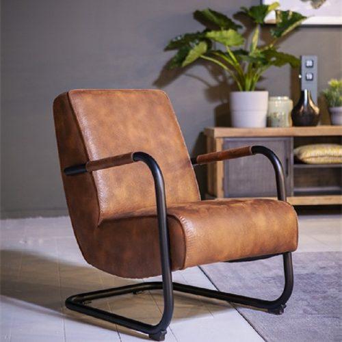 Industriele fauteuil met metalen buisframe