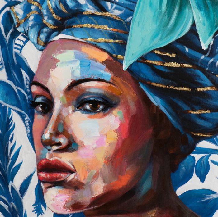 Schilderij Afrikaanse vrouw Blue Beauty