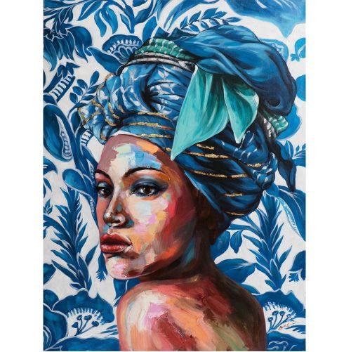 Schilderij Afrikaanse vrouw Blue Beautyy