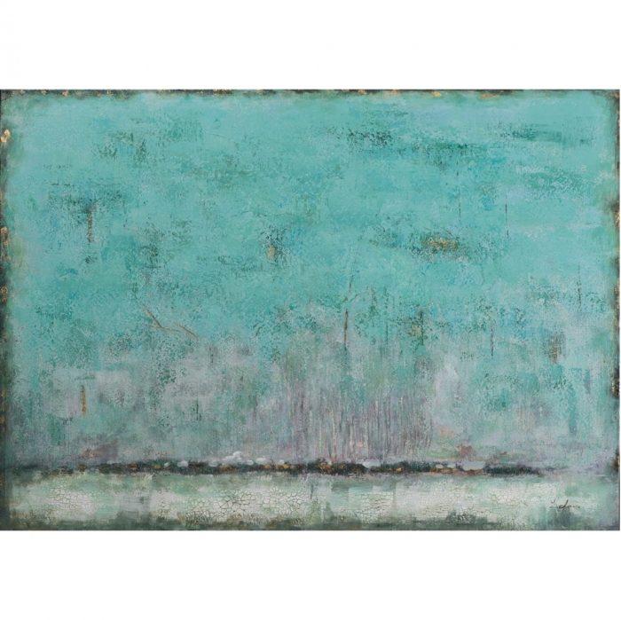 Dit abstracte schilderij zeegroen