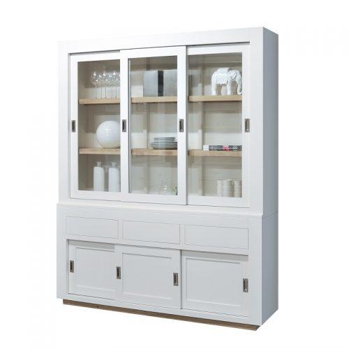 Strakke vitrinekast wit